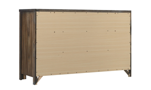 Rustic 6-drawer dresser with brass pulls in brown autumn bronze finish