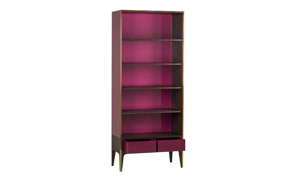 Boyd Rubylite Pink Glass and Walnut Bookcase