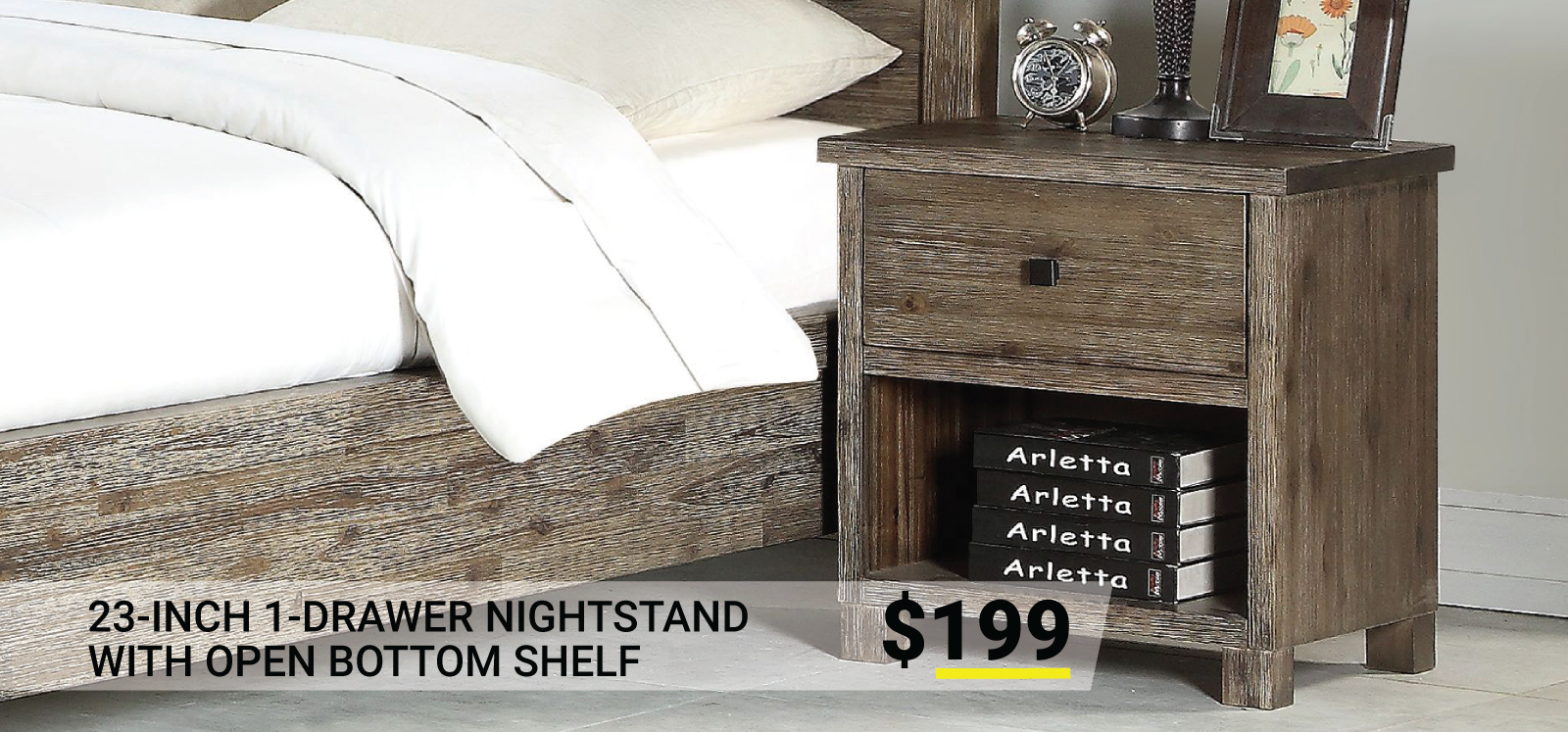 23-Inch 1-Drawer Nightstand with Open Bottom Shelf $199