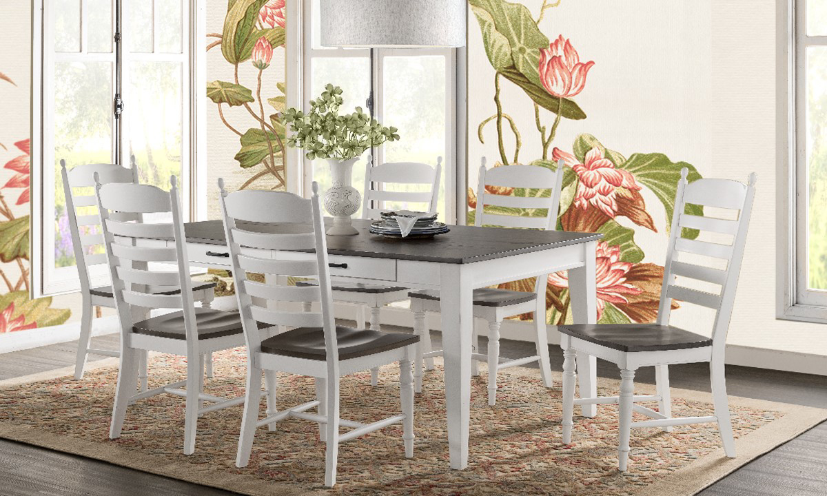 European Farmhouse Dining Set with Two-Toned Storage Table and Four Ladderback Chairs