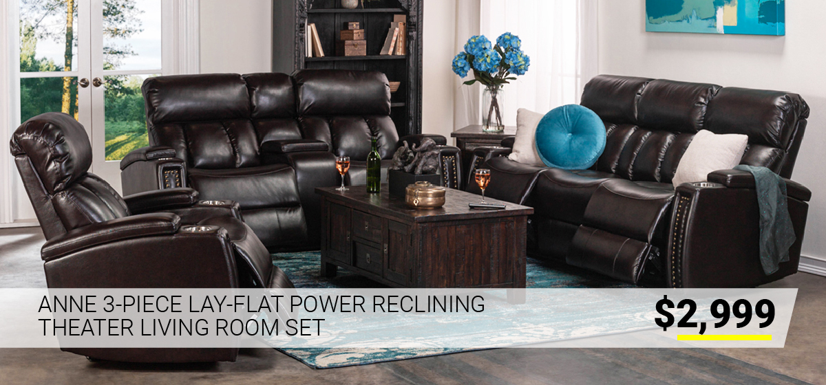 Anne 3-Piece Lay-Flat Power Reclining Theater Living Room Set $2999