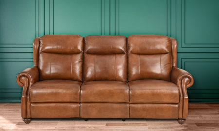 Era Nouveau Toffee Power Reclining Leather Sofa