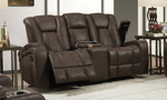 Sage Brown Dual Reclining Console Loveseat