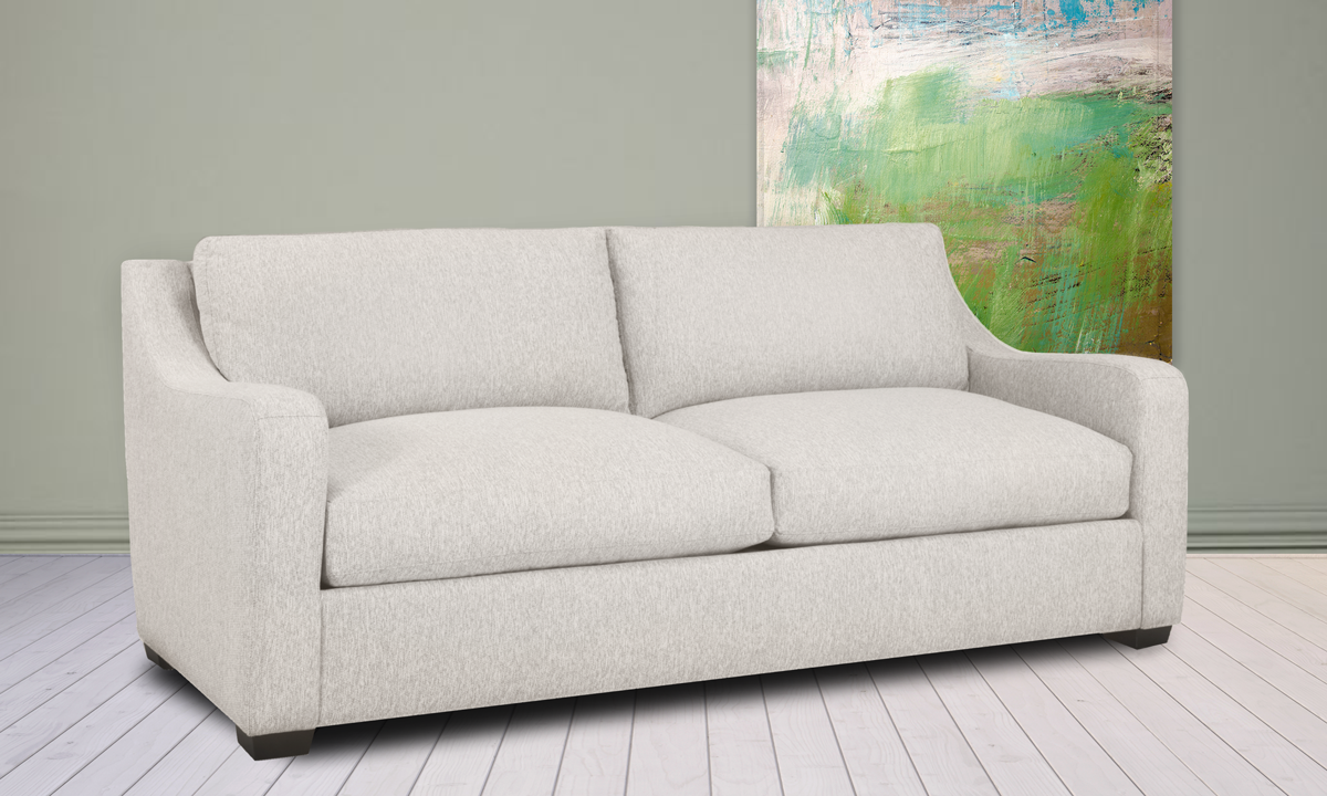 """93"""" wide sofa from Carolina Custom, the Danfield couch in linen is made from recycled materials."""
