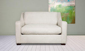 "53"" wide sofa from Carolina Custom, the Danfield couch in linen is made from recycled materials."