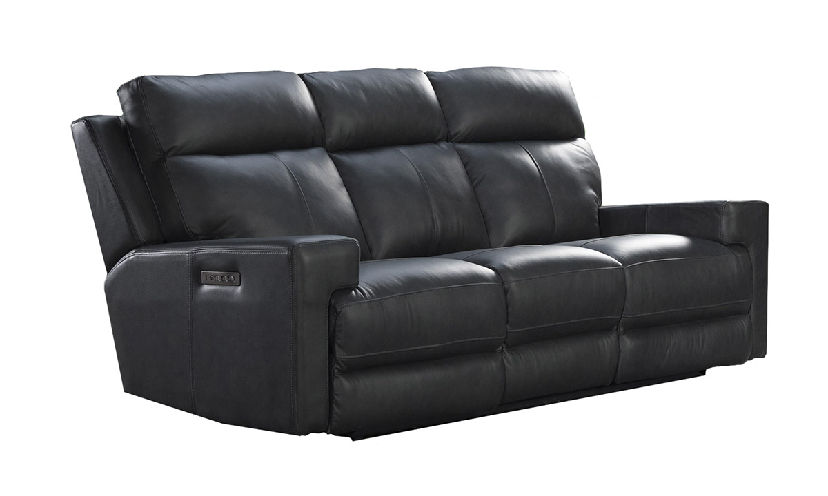 Solana Space Grey Leather Power Reclining Sofa