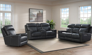 Solana Space Grey Leather Power Reclining Console Loveseat