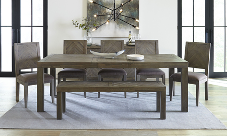 Herringbone Acacia Wood 6-Piece Dining Set