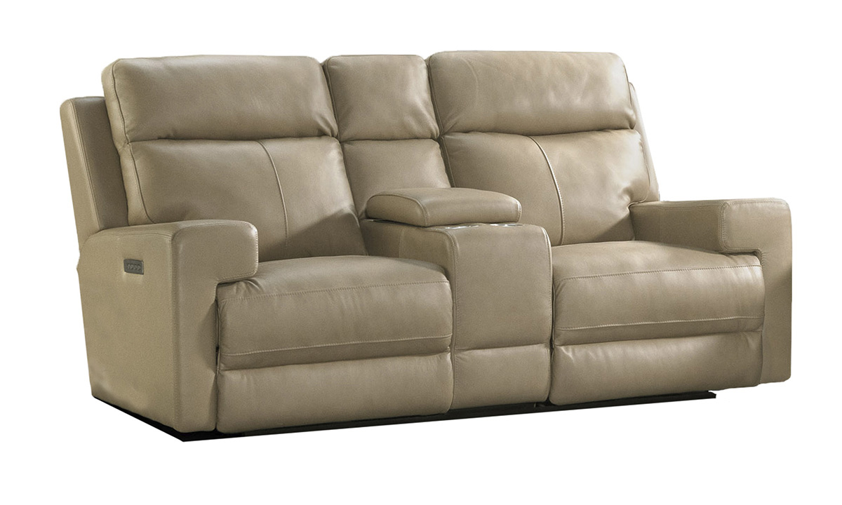Solana Moon Leather Power Reclining Console Loveseat