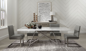 Coral Carrara Marble 7-Piece Dining Set