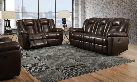 Liza Brown Leather Reclining 3-Piece Living Room Set