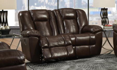 Liza Brown Leather Dual Reclining Loveseat