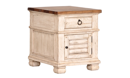 Belmont Antique Linen 1-Drawer End Table