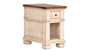 Belmont Antique Linen 1-Drawer Chairside Table