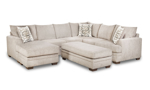 American-made taupe fabric upholstered sectional couch with reversible chaise.