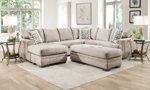 LIfestyle shot of the Croft Sand fabric Sectional and Storage ottoman.