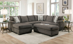 Lifestyle shot of the Croft Charcoal Sectional and Ottoman.