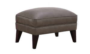 Stallion Grey Top-Grain Leather Ottoman