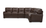 Chocolate Brown Split Leather 4-Piece Sectional