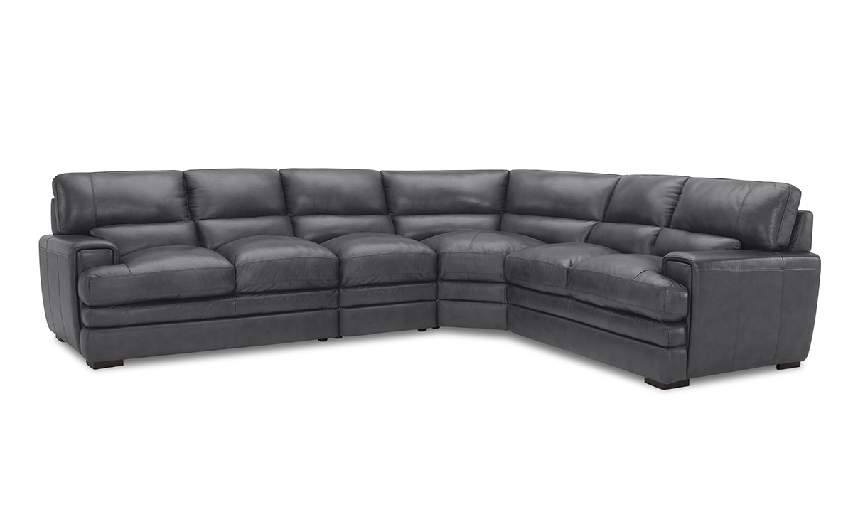 Pewter Grey Leather with Match 4-Piece Sectional