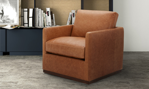 Marseille Brown Top Grain Leather Swivel Accent Chair