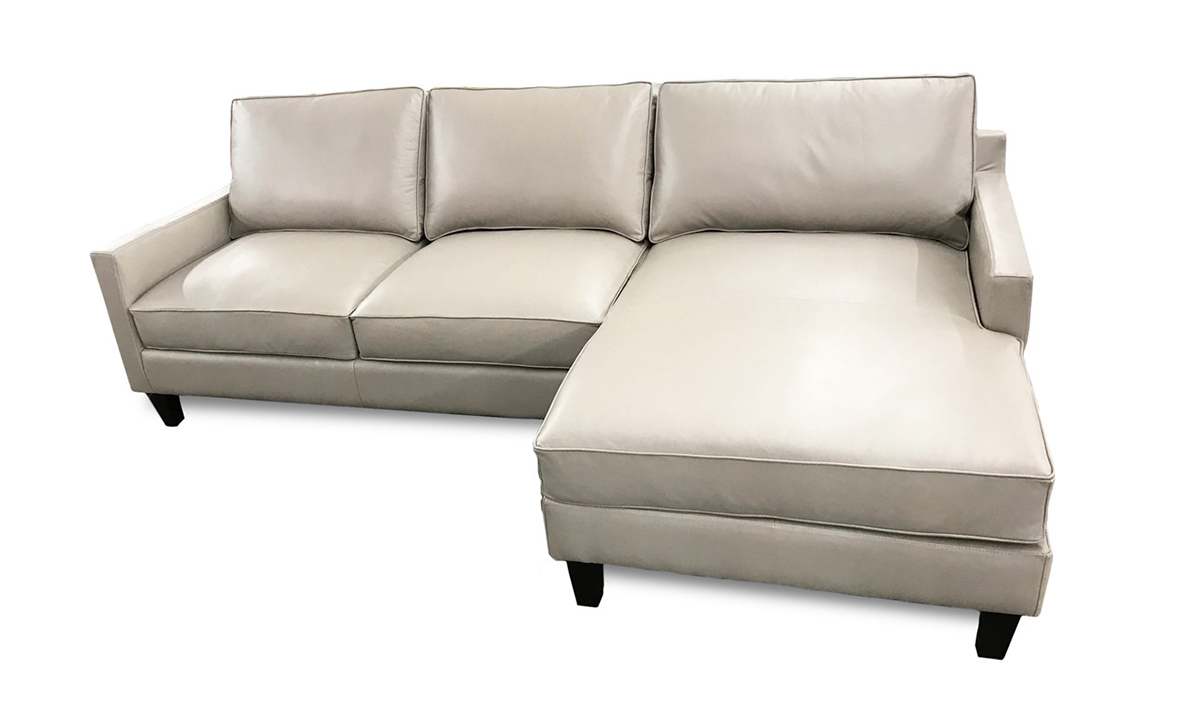 Rocky Mountain Leather Biscotti Top Grain Leather Chaise Sectional