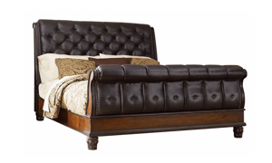 Grand Estates Tufted Leather Sleigh Beds