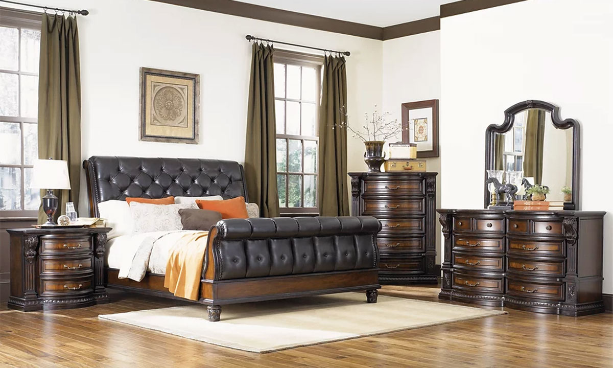 Grand Estates Tufted Leather Sleigh Bedroom Sets The Dump Luxe Furniture Outlet