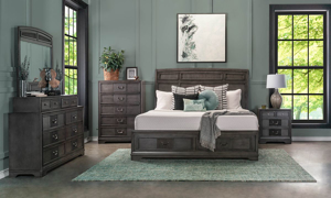 Parkhurst Grey Sleigh Storage Bedroom Sets