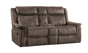 Kisner Mink Dual Reclining Console Loveseat