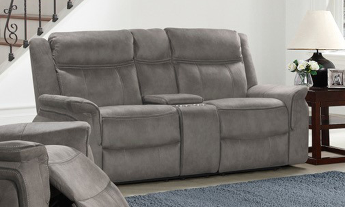 Picture of Kisner Grey Dual Reclining Console Loveseat