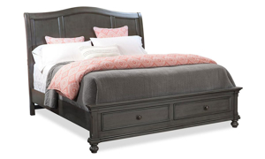 Oxford Peppercorn Sleigh Storage Bedroom Sets