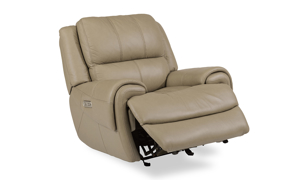 Beckham Taupe Power Leather Glider Recliner