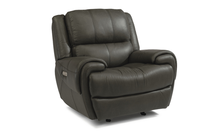 Beckham Grey Power Leather Glider Recliner