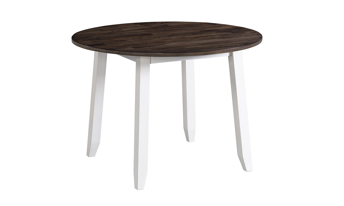 Kona Grey Solid Mango Wood Round Drop Leaf Dining Table The Dump Luxe Furniture Outlet