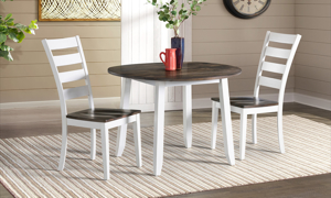 Kona Grey Solid Mango Wood Round Drop Leaf Dining Table