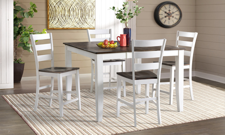 Kona Grey Solid Mango Wood 5-Piece Counter Height Dining Set