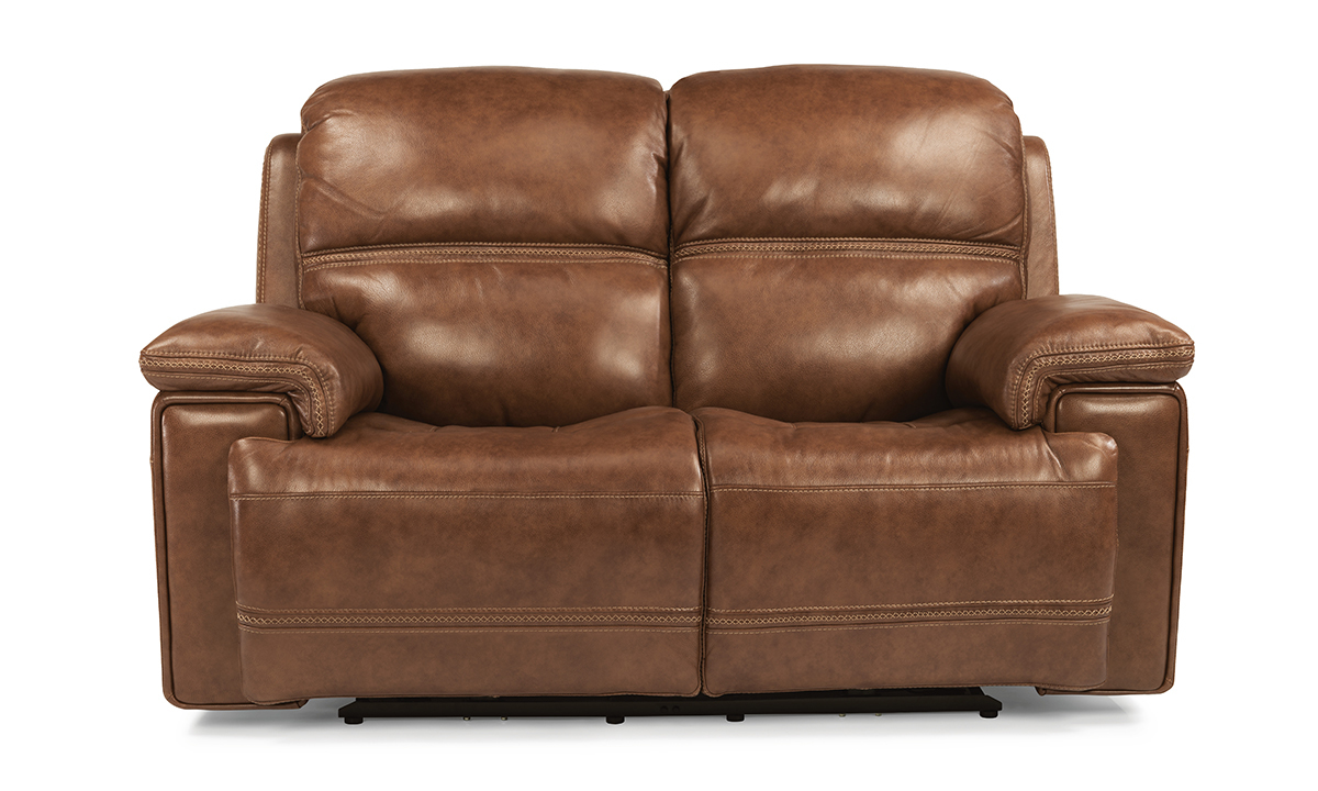 Lionel Caramel Power Reclining Leather Loveseat