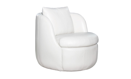Flora Cream Top Grain Leather Swivel Chair