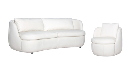 Flora Cream Top Grain Leather 2-Piece Living Room Set