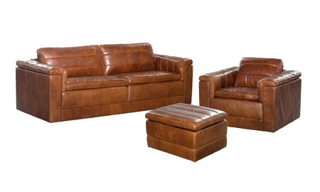 Norah Brown Top Grain Leather 3-Piece Living Room Set