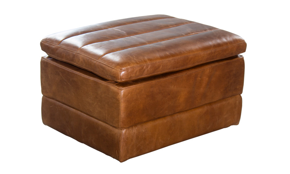 Norah Brown Top Grain Leather Ottoman