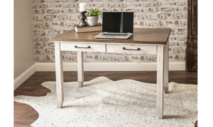 Bear Creek White and Honey Desk- White and Grey Desk with two drawers