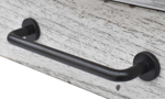 Bear Creek White and Honey Desk - detail shot of modern black bar pull handles