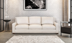 American made couch in a neutral bone colored leather.