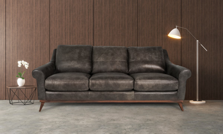 Mid-century modern top-grain leather sofa in Hearth Brown- Lifestyle