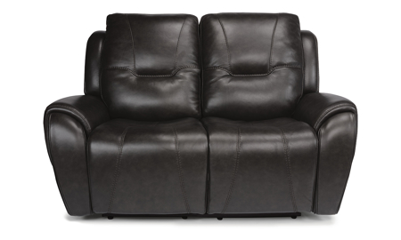 Maradonna Licorice Power Reclining Leather Loveseat