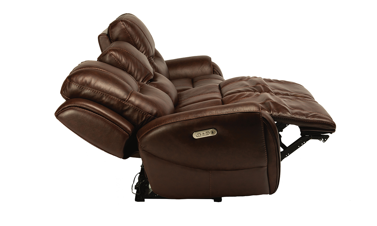 Maradonna Chocolate Power Reclining Leather Sofa