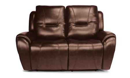 Maradonna Chocolate Power Reclining Leather Loveseat