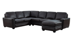 Espresso Brown Leather 3-Piece Chaise Sectional
